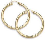 14K Gold Hoop Earrings - 1 5/8