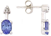 Oval Tanzanite and Diamond Earrings