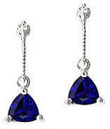 Diamond and Trillion Shaped Sapphire Earrings