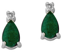 Buy Pear-Cut Emerald and Diamond Earrings