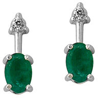 Buy Oval Shaped Emerald and Diamond Earrings