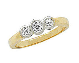 1/4 Carat Bezel Set Three Stone Diamond Ring (Apples of Gold)
