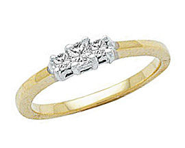 1/4 Carat Three Stone Princess Cut Ring - 14K Gold (Apples of Gold)