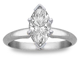 1 Carat Marquis Diamond Engagement Ring - 14K White Gold