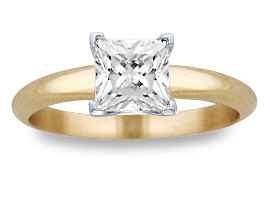 1.00 Carat Princess Cut Diamond Solitaire Ring, 14K Yellow Gold
