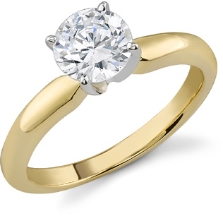 1.00 Carat Round Diamond Solitaire Ring, 14K Yellow Gold