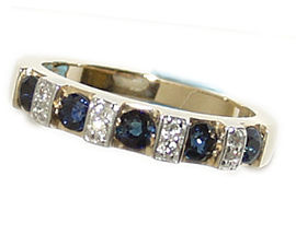 Buy 14K Gold Sapphire and Diamond Band