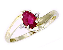 14K Gold Ruby Gemstone and Diamond Wave Ring