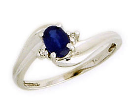 14K White Gold Sapphire Gemstone and Diamond Wave Ring