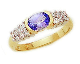 14K Gold Tanzanite and 1/4 Carat Diamond Half Bezel Ring (Apples of Gold)