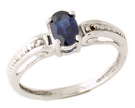 14K White Gold Sapphire and Diamond Antique Ring