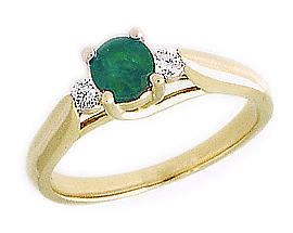 14K Gold Three Stone Emerald and Diamond Ring