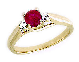 Three Stone Ruby and Diamond Ring - 14K Gold