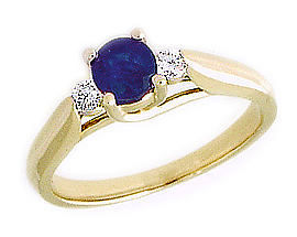 14K Gold Three Stone Sapphire and Diamond Ring