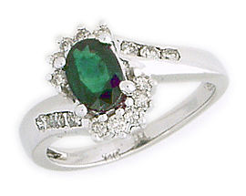 0.45 Carat Emerald and Diamond Flower Twist Ring