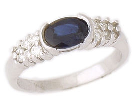 Buy 14K White Gold 1 Carat Sapphire and 1/4 Carat Diamond Half Bezel Ring