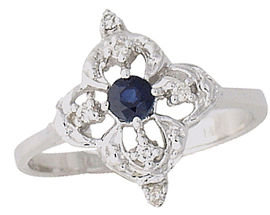 Buy Sapphire and Diamond Flower Sparkle Ring