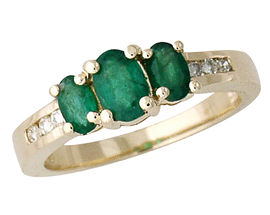 Emerald and 6 Diamond Baguette Ring - 14K Gold