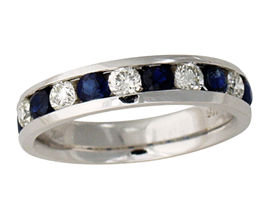 Sapphire and Diamond Channel Ring - 14K White Gold