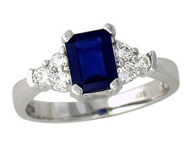Sapphire and 0.30 Carat Diamond Ring - 14K White Gold