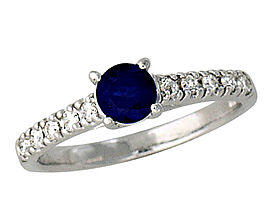 Buy Carved Sapphire and 0.30 Carat Diamond Ring – 14K White Gold