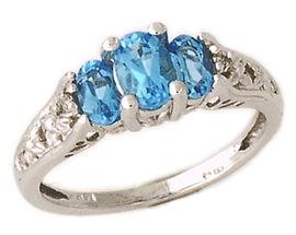 Buy 14K White Gold Blue Topaz and Diamond Gold Art Deco Ring