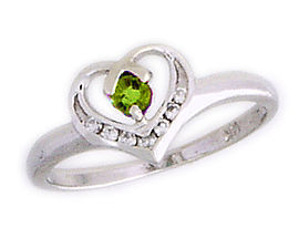 14K White Gold Peridot and Diamond White Gold Heart Ring