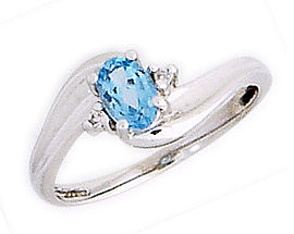 14K White Gold Blue Topaz and Diamond Wave Ring