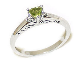 14K White Gold Antique Trillion Peridot and Diamond Ring