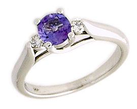 14K White Gold Three Stone White Gold Tanzanite and Diamond Ring