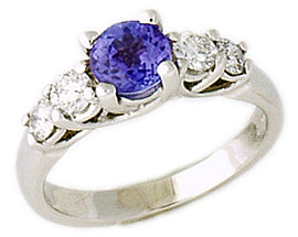 5 Stone 1 Carat Tanzanite and 1/2 Carat Diamond Ring, 14K White Gold