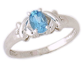 Buy 10K White Gold Blue Topaz and Diamond Ring