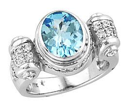Buy Blue Topaz and Diamond Antique Ring – 14k White Gold