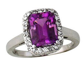 Buy Antique-Etched Amethyst and Diamond Ring, 14K White Gold
