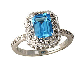 Buy Blue Topaz Gemstone and Diamond Ring – 14K White Gold