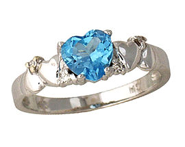 Buy Blue Topaz and Diamond Heart Ring – 14K White Gold