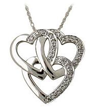 Buy Triple Heart Diamond Pendant in 14kt White Gold