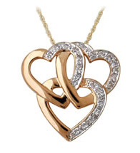 14K Rose Gold Triple Heart Diamond Pendant (Pendants, Apples of Gold)