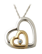 Buy Two-Tone Dual Heart and Diamond Pendant in 14K Gold