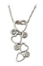 Buy 4 Stone Diamond Heart Drop Pendant in 10kt White Gold