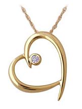 Buy Open Heart Diamond Pendant in 10K Yellow Gold