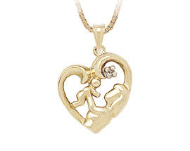 Buy 10K Gold Mother Love Diamond Heart Pendant