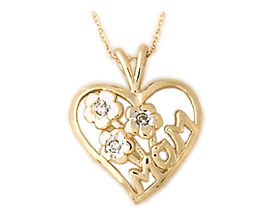 Buy Diamond Flower Basket and Heart MOM Pendant 14K Yellow Gold