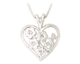 Buy Diamond Flower and Heart MOM Pendant 14K White Gold