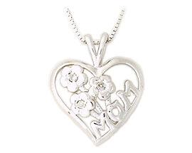 Buy Diamond Flower and Heart MOM Pendant 14K White Gold