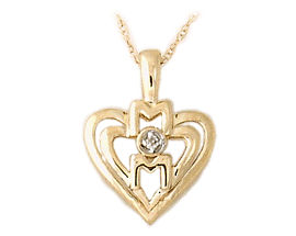 Buy Diamond and Heart MOM Pendant 14K Yellow Gold