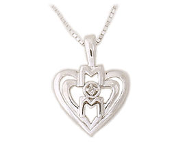 Diamond and Heart MOM Pendant 14K White Gold (Pendants, Apples of Gold)