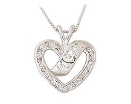 14K White Gold Diamond Heart Ribbon Laced MOM Pendant (Pendants, Apples of Gold)