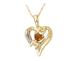 10K Gold Citrine and Diamond Heart MOM Pendant