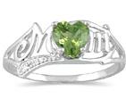 10K White Gold Peridot and Diamond Heart Shaped MOM Ring